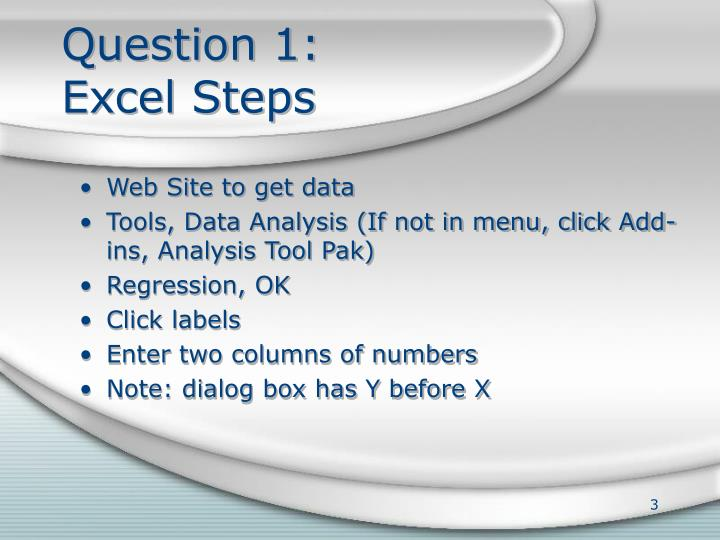 Question 1 excel steps
