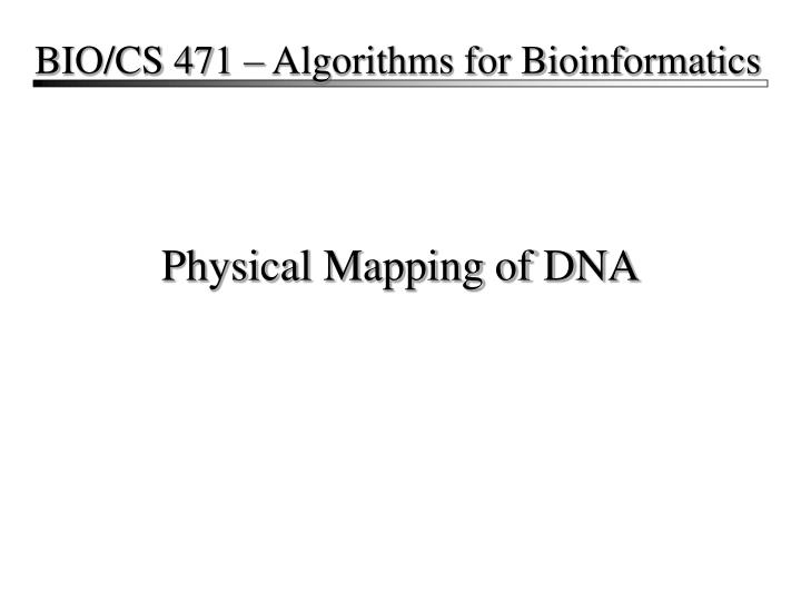 physical mapping of dna n.