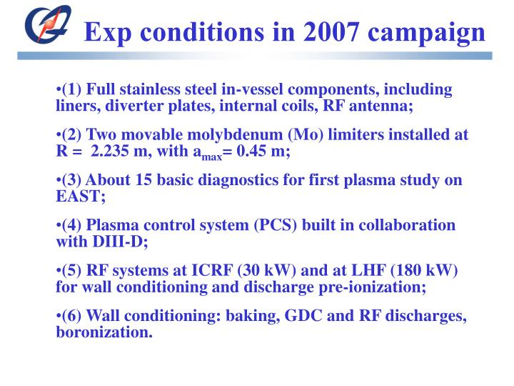 Exp conditions in 2007 campaign