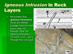 igneous intrusion in rock layers
