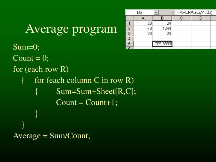 Average program