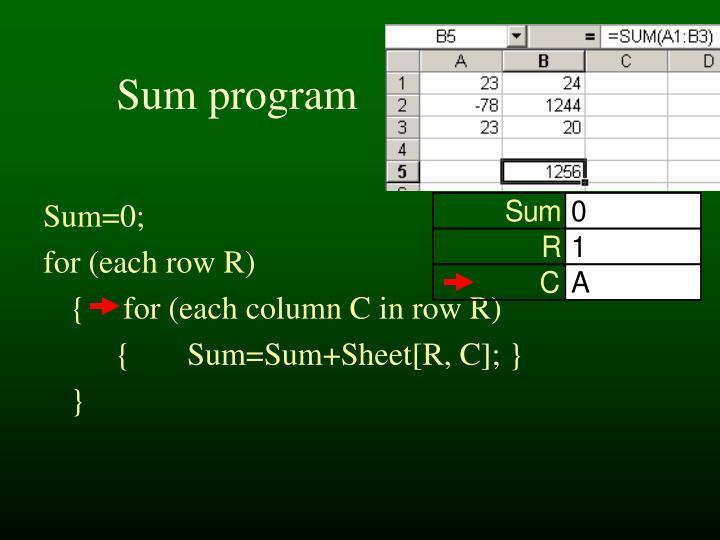 Sum program
