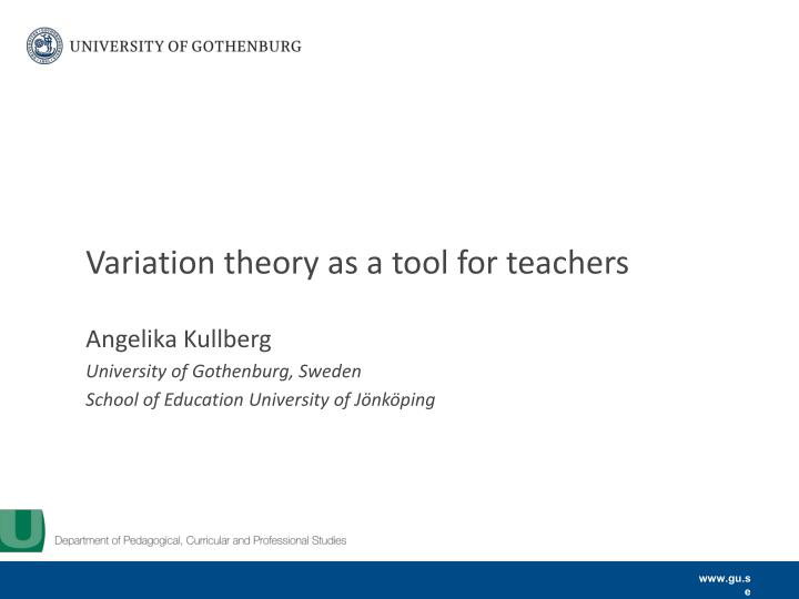variation theory as a tool for teachers n.