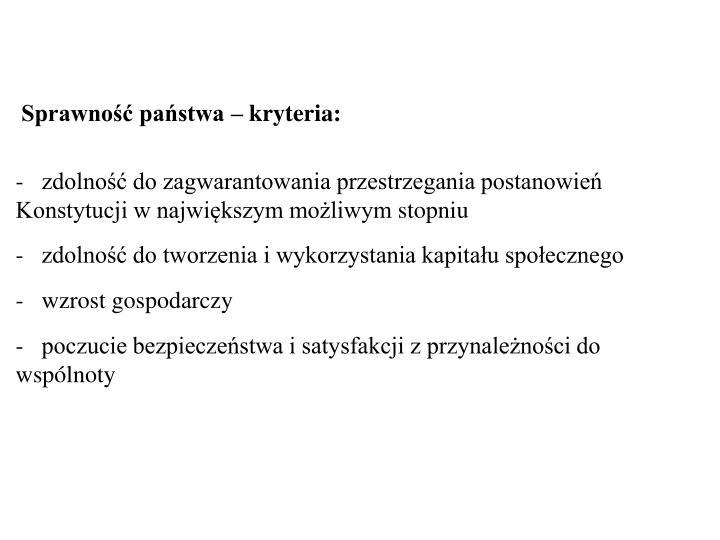 Sprawność państwa – kryteria: