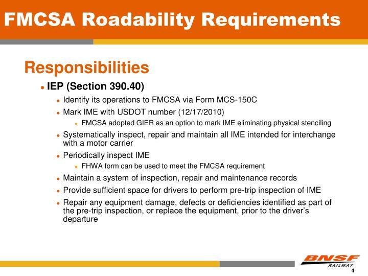 FMCSA Roadability Requirements