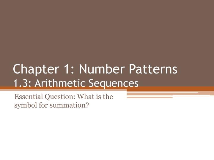 chapter 1 number patterns 1 3 arithmetic sequences n.