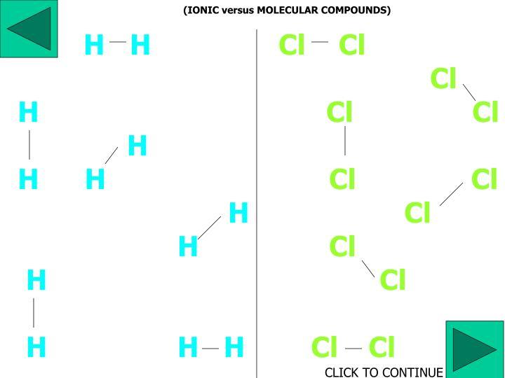(IONIC versus MOLECULAR COMPOUNDS)