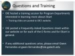questions and training