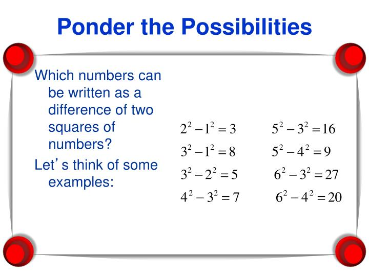 Which numbers can be written as a difference of two squares of numbers?