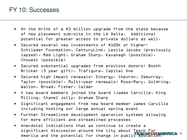 FY 10: Successes