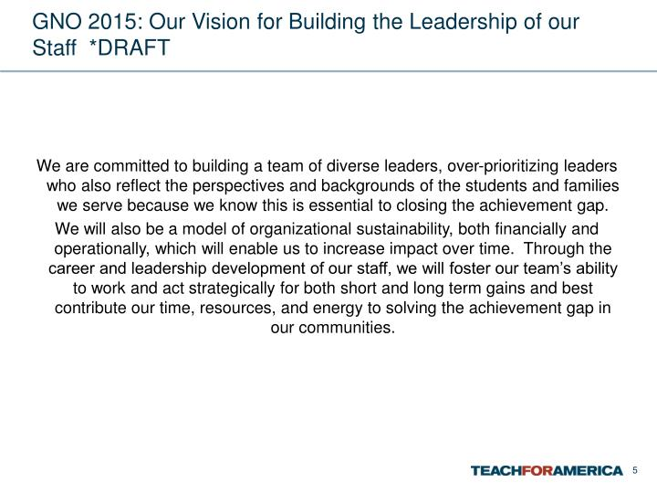 GNO 2015: Our Vision for Building the Leadership of our Staff  *DRAFT