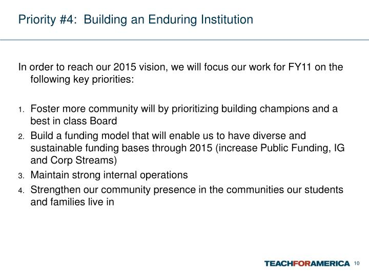 Priority #4:  Building an Enduring Institution