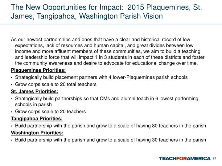 The New Opportunities for Impact:  2015 Plaquemines, St. James, Tangipahoa, Washington Parish Vision