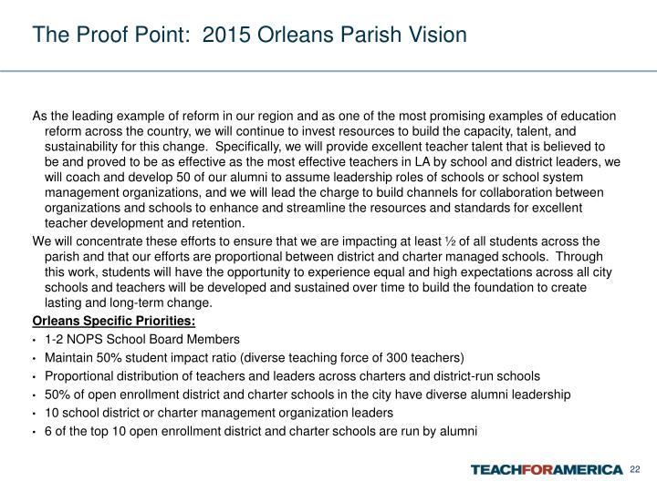 The Proof Point:  2015 Orleans Parish Vision