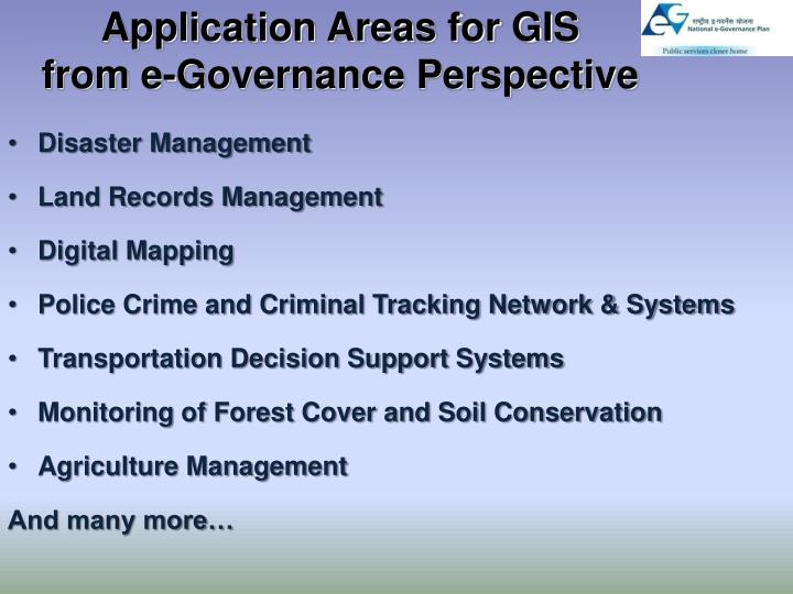 Application Areas for GIS