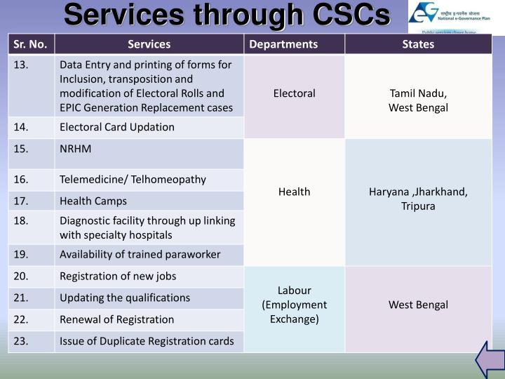 Services through CSCs