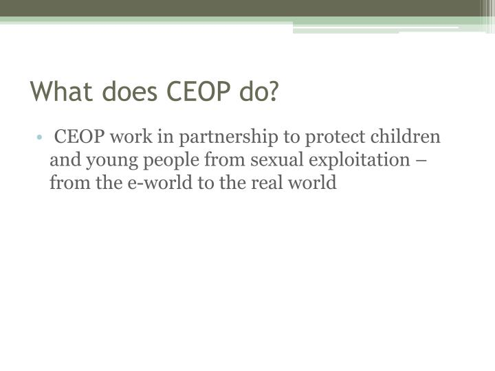 What does CEOP do?