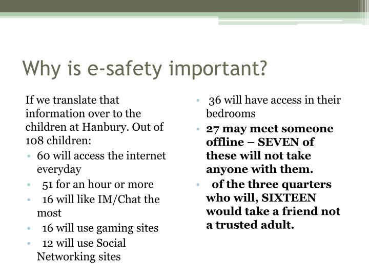 Why is e-safety important?