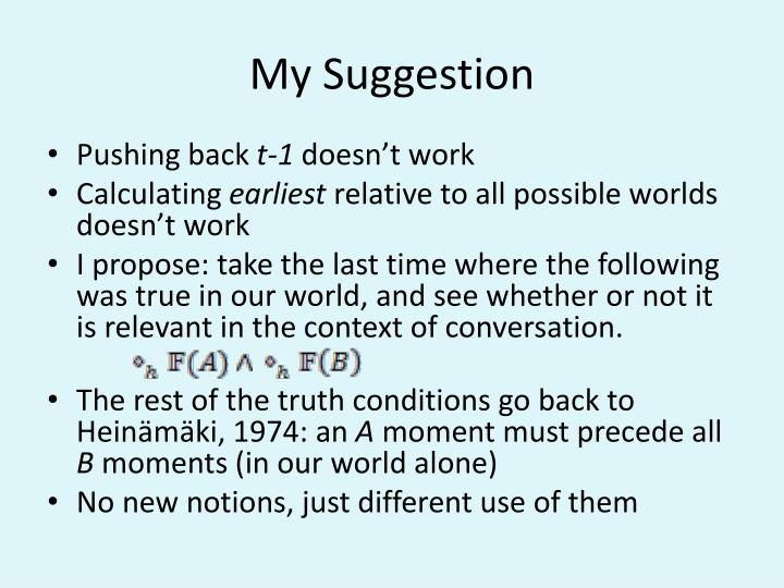 My Suggestion