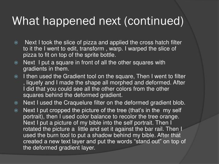 What happened next (continued)