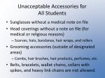 unacceptable accessories for all students