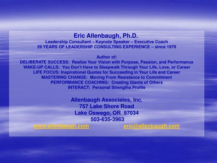 Eric Allenbaugh, Ph.D.
