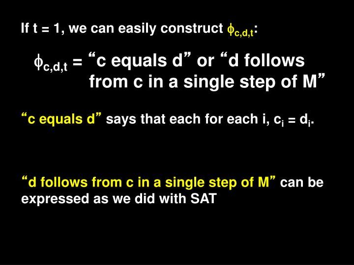 If t = 1, we can easily construct