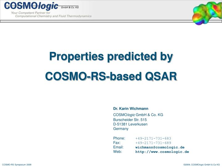 properties predicted by cosmo rs based qsar n.