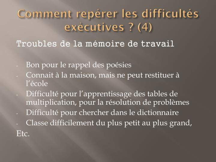 Comment repérer les difficultés exécutives ? (4)