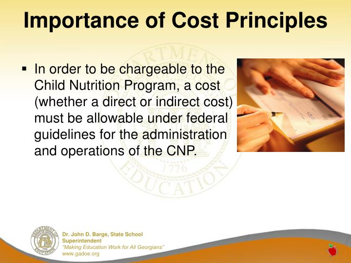 Importance of cost principles