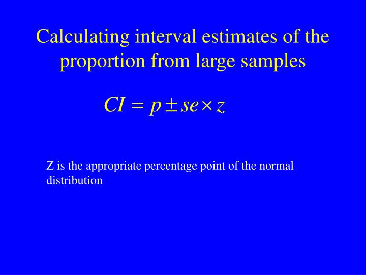 Calculating interval estimates of the proportion from large samples