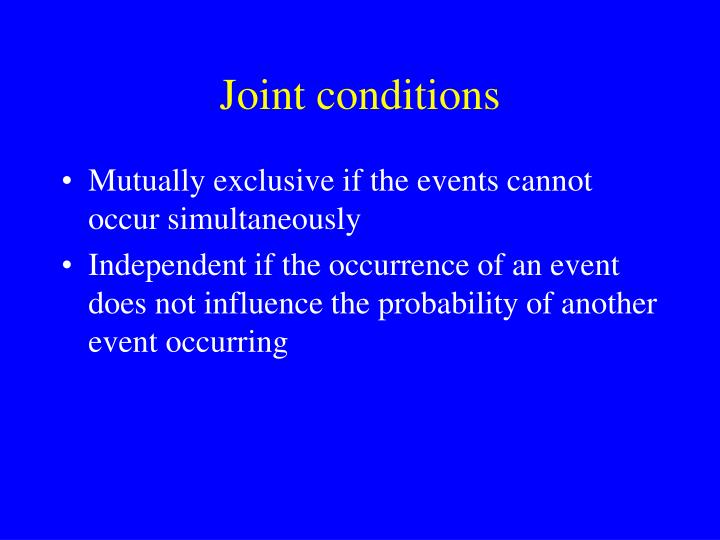 Joint conditions