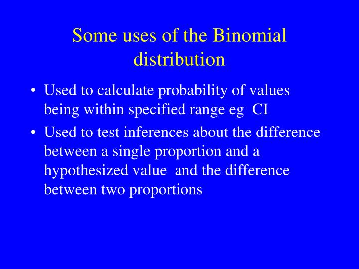 Some uses of the Binomial distribution