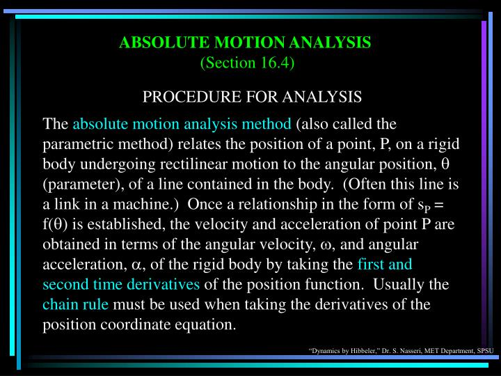 ABSOLUTE MOTION ANALYSIS