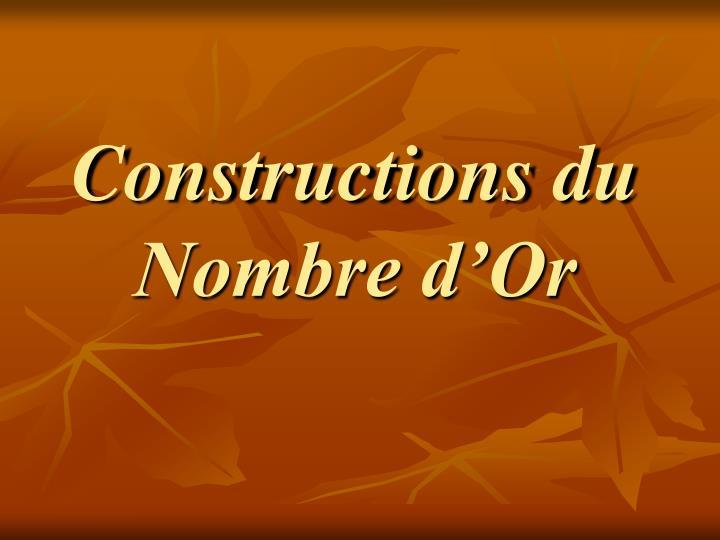 Constructions du Nombre d'Or