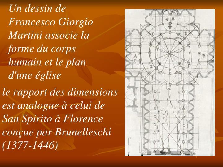 Un dessin de Francesco Giorgio Martini associe la forme du corps humain et le plan d'une église