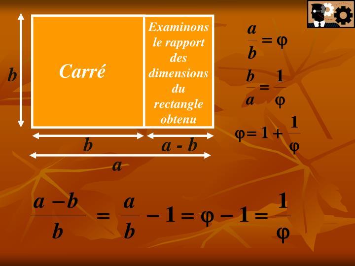 Examinons le rapport des dimensions du rectangle obtenu