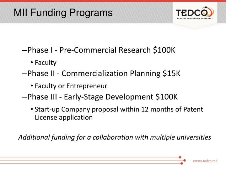 MII Funding Programs