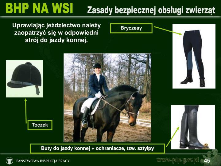Uprawiając jeździectwo należy zaopatrzyć się w odpowiedni strój do jazdy konnej.