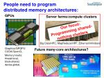 people need to program distributed memory architectures