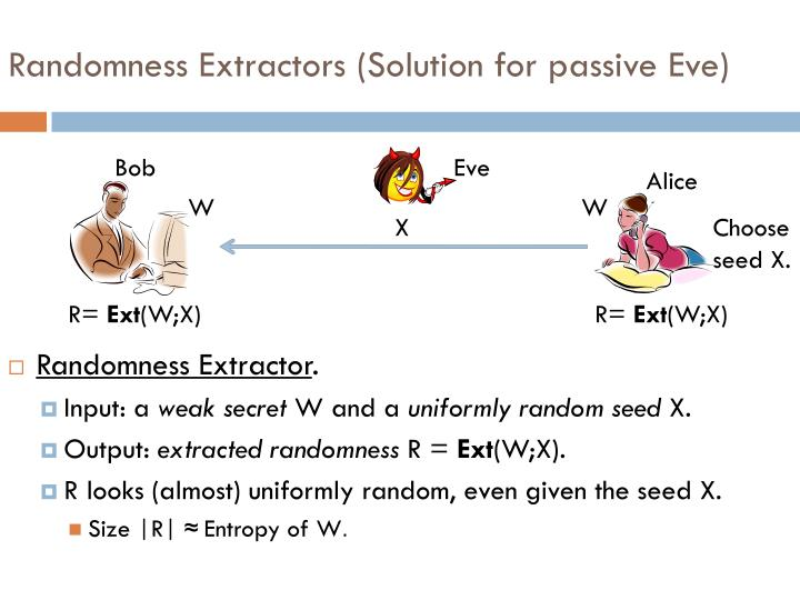 Randomness Extractors (Solution for passive Eve)