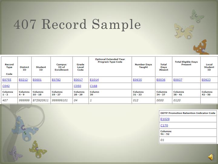 407 Record Sample