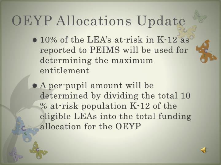 OEYP Allocations Update
