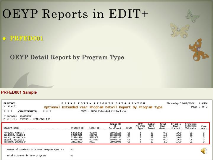 OEYP Reports in EDIT+