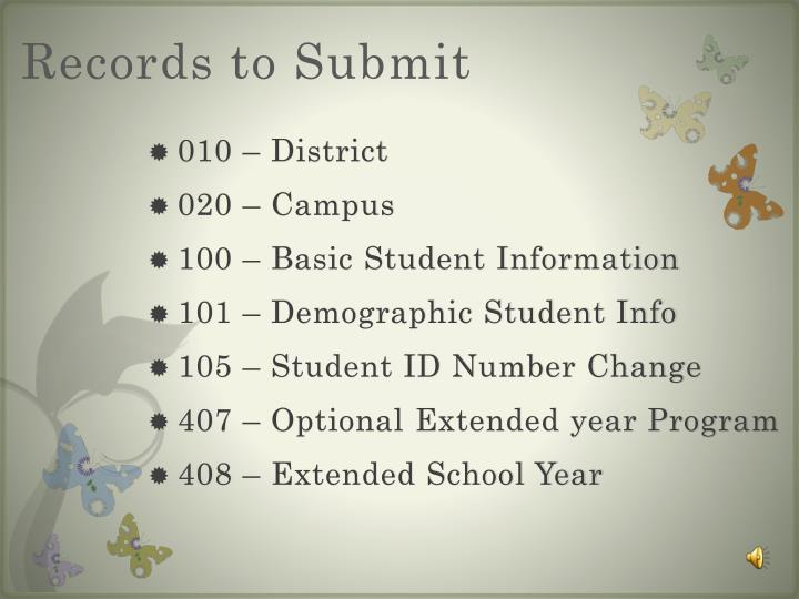 Records to Submit