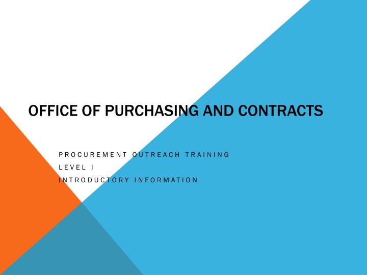 office of purchasing and contracts n.