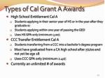types of cal grant a awards