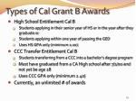 types of cal grant b awards