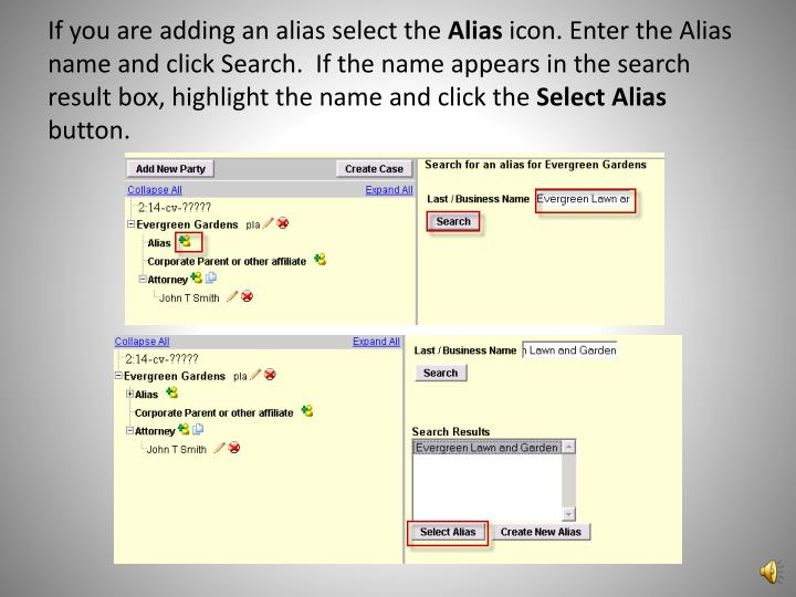 If you are adding an alias select the