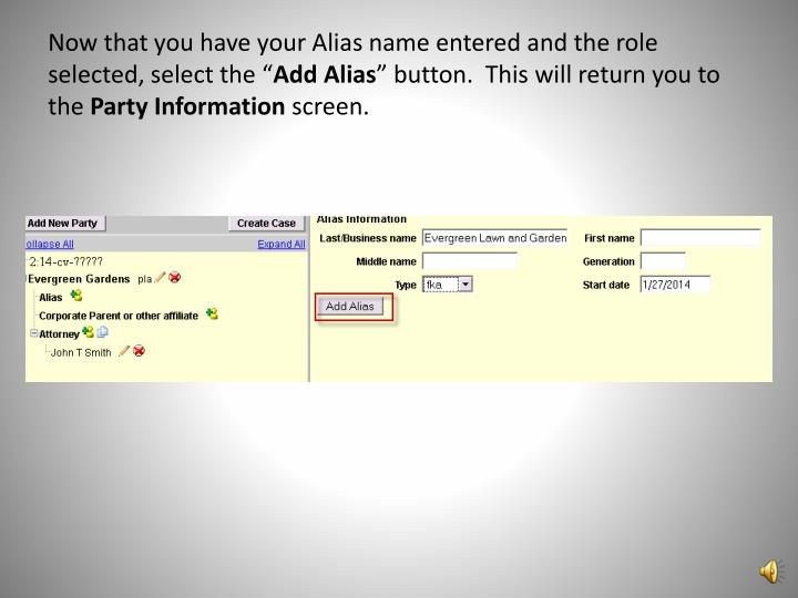Now that you have your Alias name entered and the role selected, select the ""